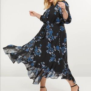 NWT lane bryant Floral High-Low Ruffle Hem Dress